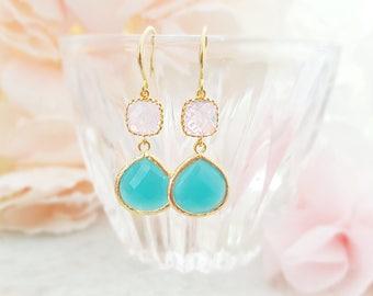 Pink Mint Earrings - Pink Opal Crystal Earrings - Mint Green Teardrop Earrings - Pink and Turquoise Dangle Earrings - Seafoam Earrings E2486