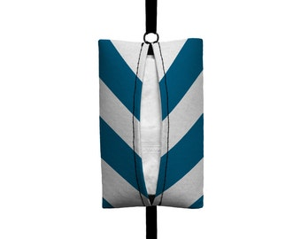 Auto Sneeze - Chevron - Visor Tissue Case/Cozy - Car Accessory Automobile Teal Blue and White zigzag Zig Zag