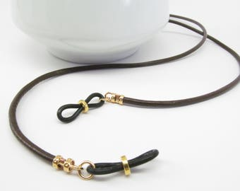 Brown Leather Glasses Holder; brown glasses chain; leather eyeglass cord; reading glasses holder; eyewearformen; eyeglass chain; kalxdesigns