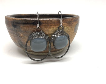 grey stained glass drop earring minimalist vintage finish modern style