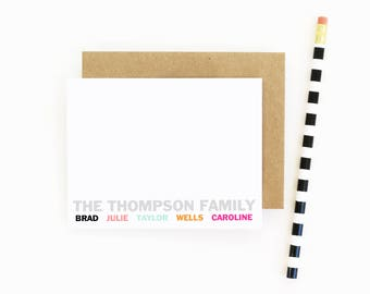 Personalized Family Stationary Custom Stationery for the Family Thank You Notes Family Note Cards Personalized Mother's Day Gift / Set of 10