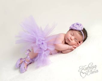 Baby Ballerina Set/ Newborn Ballerina/ Baby Dancer/ Dancer Newborn Prop/ Ballet Slippers and Rose Headband