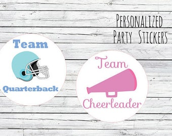 Custom Team Quarterback and  Team Cheerleader Gender Reveal Party Stickers Team Boy, Team Girl, Baby Shower Voting, Favor Stickers, Labels,
