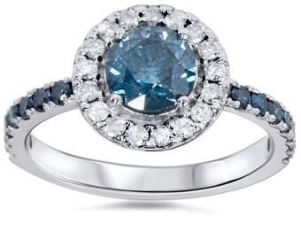 1.64CT Blue Diamond Halo Engagement Ring 14K White Gold Size 4-9