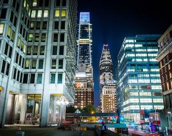 Modern buildings at night, in Center City, Philadelphia, Pennsylvania. Photo Print, Metal, Canvas, Framed.