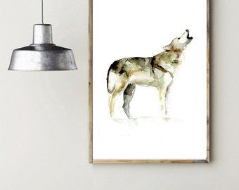 Howling Wolf watercolor painting - Art Print - Animal Painting - Home Decor Wall Art - Wolf illustration - Zen art - Wolf Painting