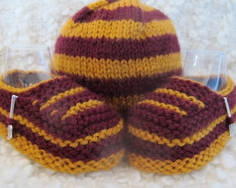 Hand Knitted Gryffindor Harry Potter Baby Hat & Shoe Set
