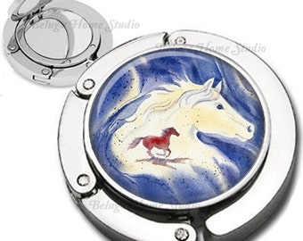 Horse Spirit Foldable Purse Hook Bag Hanger With Double Sided Compact Mirror