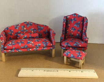 Dollhouse furniture handmade camelback sofa, wingback chair and stool
