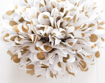 METALLIC GOLD DOTS tissue pom pom .. New Years .. Wedding Decoration