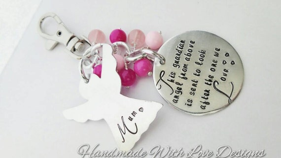 Memorial bag charm, angel, heaven - handstamped bag charm