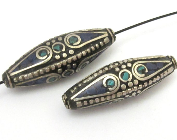 1 Bead - Long Bicone shape tibetan brass beads with turquoise and lapis inlay - BD636