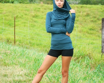Spruce Green Womens Top - Long Sleeve Fitted Tunic - Cowl Hoodie - Eco Friendly - Organic Clothing