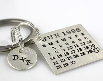 Calendar Keychain - Mark Your Calendar Keychain hand stamped and personalized sterling silver key chain with You plus Me charm