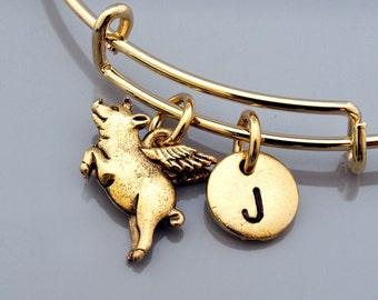 Pig with wings, flying pig, Pig bangle, Pig bracelet, Expandable bangle, Personalized bracelet, Charm bangle, Monogram, Initial bracelet