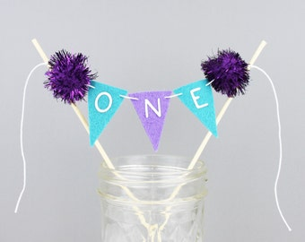 Purple and Aqua ONE Mini Cake Bunting Banner, Pom Pom Cake Topper for First Birthday Party Decoration,