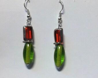 """Earrings """"Red & Green 1"""""""