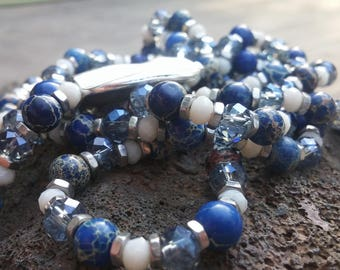 Gemstone Necklace, Royal Blue Necklace, Crystal Necklace,