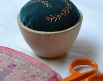Orange Feathery Branches Embroidered Pincushion