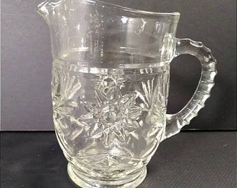 Small Vintage Pressed Glass Juice Pitcher