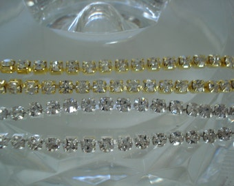 3.2mm Rhinestone Cup Chain with Close Crystals ss12 in Silver or Gold Tone Settings