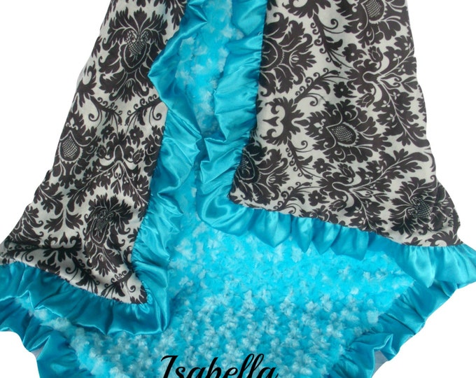 Black and Gray Damask Minky Baby Blanket with Aqua Turquoise Rose Swirl and Satin Ruffle Trim, available in three sizes