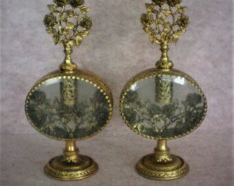 Gold Gilt Ormolu Floral Filigree & Beveled Glass Perfume ~ Scent Bottles - 5281