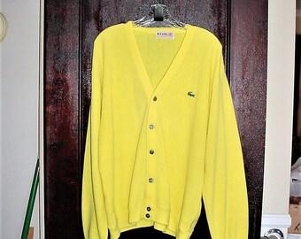 Vintage 60s Izod Yellow Acrylic Knit Cardigan Sweater Mens XL Gator Mister Rogers