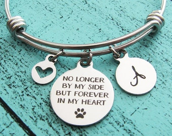 loss of pet, no longer by my side pet loss gift, pet memorial jewelry, sympathy gift, pet remembrance jewelry, loss of dog, loss of cat