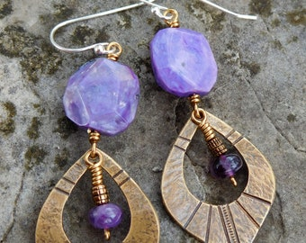 Boho brass charoite earrings | purple gem dangle earring | Bohemian drop earrings