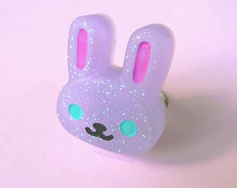 Kawaii Purple Bunny Ring- Kawaii-Fairy Kei-Sweet Lolita-Pastel Goth -Creepy Cute