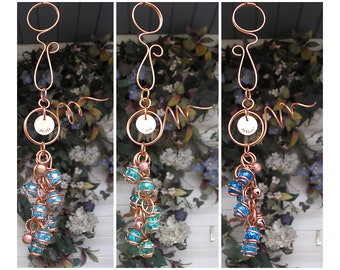Inspirational Wind Chimes - Glass Wind Chimes - Copper Wind Chimes - Garden Decor - Garden Art - Glass Garden Art - Gift for Dad