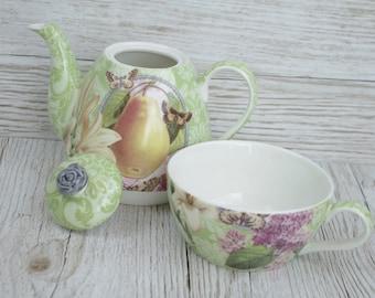 Tea For One Ceramic Fruit Pear Green Teapot & Mug Perfect Tea lovers Gift TF043