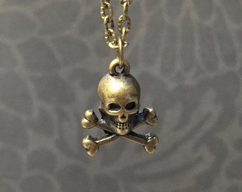 Tiny Skull necklace-Choose your length-antique Brass Plated Skull Charm on a Dainty Brass Plated Cable Chain-Bronze Skull necklace
