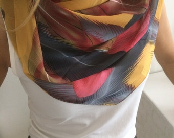 Red and Brown Silk Scarf