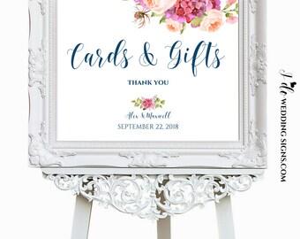 Printable Wedding Signs | Cards + Gifts Sign | Navy Wedding Calligraphy Sign | Gift Table Sign | Navy Gold & Pink Peonies SKU# IDWS503_1119C