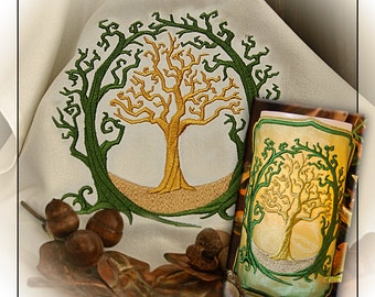 Magical Old Oak Embroidered Altar Cloth and Candle Wrap Set. Green or White Cloth.