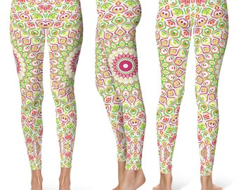 Yoga Pants for Spring, Bright Summer Fun Leggings, Cute Mandala Flower Leggings, Printed Leggings Tights