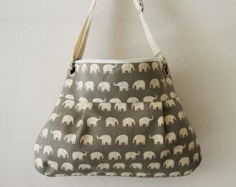 SALE-Women Messenger Bag Cross Body Purse wtih  Zipper closure - Gray elephant