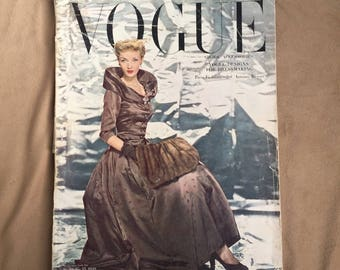 40's Magazine, Vintage 1940's Fashion Magazine, Vogue September 1948, 40's Fashion, Vintage Advertisements, RARE