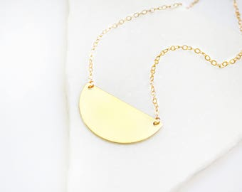 Half Moon necklace, Half Circle Necklace, Gold Necklace, Dainty necklace gold, Delicate necklace, Simple necklace gold, Simple necklace.