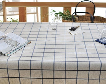 Laminated Linen Fabric - Navy Plaid - By the Yard 84764