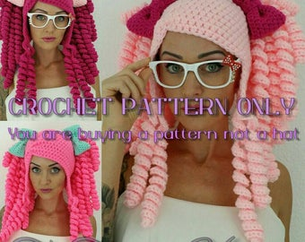 Crochet Pigtail Hat PATTERN  please read description before buying