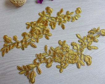 Alencon Lace Gold Applique Lace Trim for DIY headwear, Wedding shoes, Costume Design