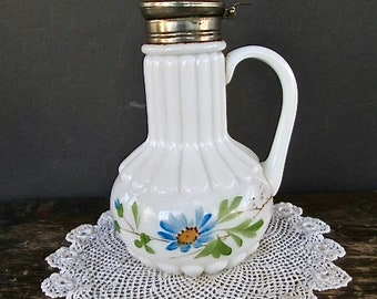 Antique Milk Glass Hand Painted Syrup Pitcher