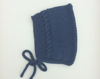 Cotton Cable Pixie Bonnet in Midnight Blue - Made to Order