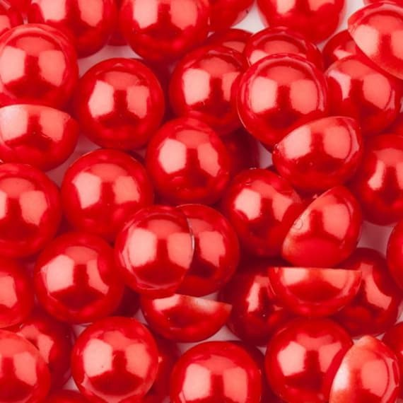 Red Flat Back Half Round Resin Pearls Craft Embellishment Gems C23