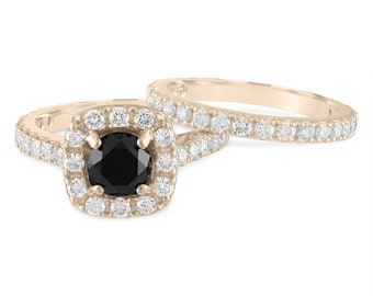Black Diamond Engagement Ring Set Yellow Gold, 2.65 Carat Wedding Rings Sets, Halo Pave Unique Handmade Certified