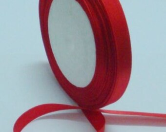 """Red Satin Ribbon-1/4""""-6mm - 5 or 10 YDS."""
