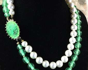 Sweet Bright White Faux Pearl Green Glass Bead Double Strand Choker Necklace Unsigned Ornate Molded Dome Clasp Gold Tone Metal 1950's 1960's